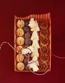 Coffee biscuits, coconut biscuits, poopy seed balls and walnut biscuits