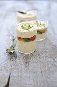 Spicy layered dish with sheep's cheese and summer vegetables