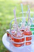 Strawberry drinks in bottles