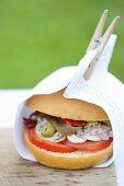 Pan Bagnat (Sandwich mit Thunfischcreme, Anchovis & Oliven, Nizza)