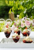 Summery berry desserts with cream