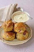 Cranberry scones with clotted cream