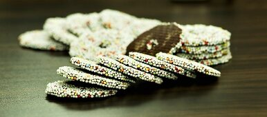 Nonpareilles (chocolate biscuits covered with hundreds and thousands)