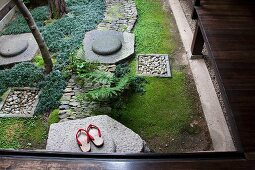 Wooden sandals in a Japanese garden