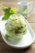A jar of pickled courgette