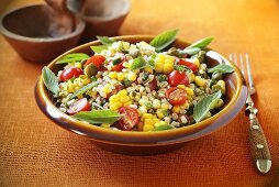 Barley salad with sweetcorn and tomatoes