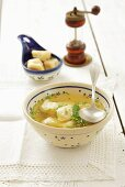 Clear broth with dumplings