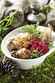 Oven-roasted rabbit with beetroot puree