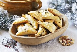 Spicy dough parcels with caraway (Polish ravioli eaten at Christmas)
