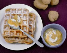 Sweet potato and hazelnut waffles with apple green