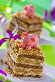 Chocolate nut cake with marzipan pig