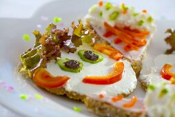 Soft cheese, salad & vegetables on wholemeal bread (a face)