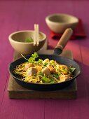 Chow mein (Stir-fried noodles with chicken breast, China)