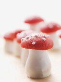 Marzipan fly agaric mushrooms