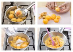 Making apricot and peach compote