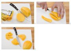 Peeling and slicing or dicing a mango