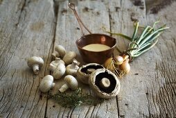 Mushrooms, onions and herbs