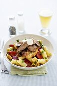 Pasta salad with beef