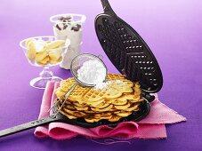 Banana waffles with stracciatella cream