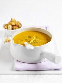 Carrot soup with orange and croutons