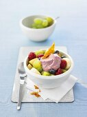 Fruit salad with acai berry quark