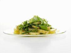 Warm potato salad with spinach