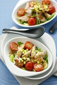 Chicken salad with cucumber, tomatoes and ginger dressing
