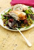 Chicken breast stuffed with goat's cheese, beetroot & lentil salad