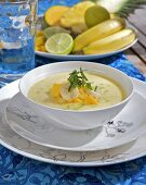Cold fruit soup with mint