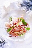 Vegetable salad with prosciutto (Christmas)