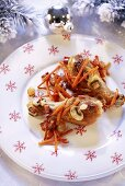 Chicken legs with carrots and mushrooms (Christmas)