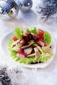 Salad leaves with eel and grapefruit (Christmas)