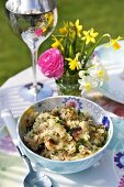 Crushed potatoes with herbs