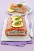 Smoked salmon and cottage cheese terrine