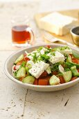 Bulgarian salad of pepper, tomato, cucumber, onion and feta