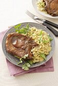 Pork chop with Asian noodles