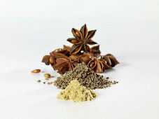 Star anise, whole aniseed and ground aniseed