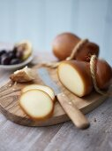 Smoked Scamorza with olives