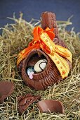 Chocolate hen filled with Easter eggs