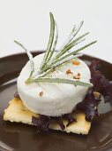 Goat's cheese and rosemary on cracker