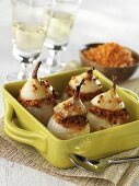 Onions stuffed with red lentils