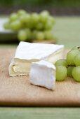 Camembert and green grapes