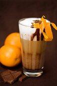 Chocolate orange latte macchiato (with orange liqueur)