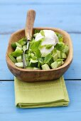 Cucumber with yoghurt and mint