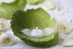 Tealight in savoy cabbage leaf