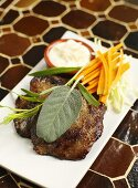 Beefsteak with sage, carrots and mayonnaise