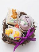 Petit fours in an Easter nest