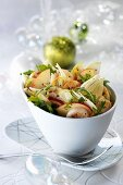 Salad of fried scallops, apple and fennel