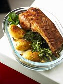 Rack of lamb on herbs with roasted potatoes
