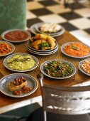 An assortment of mezze on a table